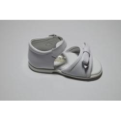 Sandalia piel charol blanco